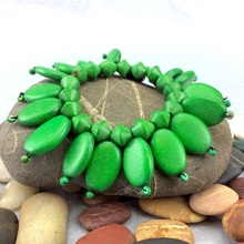 Jungle Green Ovalitos Elastic Wooden Bracelet