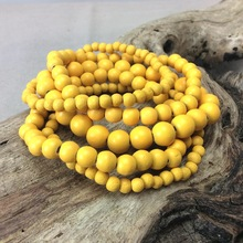 Sunshine Yellow Bella 5 Strand Wooden Bracelet Cluster