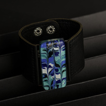 Blue White Marbled Glass and Leather Cuff