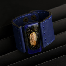 Deep Blue Wide Glass and Leather Cuff