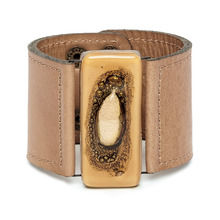 Camel Bronze Wide Glass and  Leather Cuff