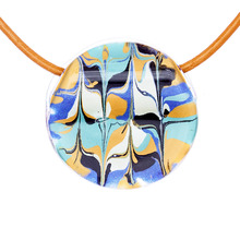 Serenity Blue Marbled Glass Cerdena Necklace