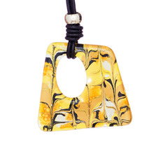 Mellow Yellow Marbled Glass Toscana Long Necklace