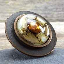 Natural White Round Bronze Ring