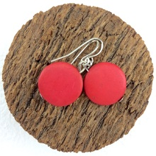 Burnt Orange Smarties Coconut Shell Hook Earrings