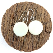 Bleach White Smarties Coconut Shell Hook Earrings