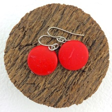Red Smarties Coconut Shell Hook Earrings