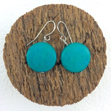Turquoise Smarties Coconut Shell Hook Earrings