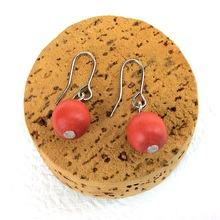 Bright Tangerine Lola Round Wooden Bead Earrings