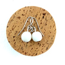 Bleach White Lola Round Wooden Bead Earrings