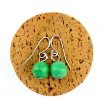Fern Green Lola Round Wooden Bead Earrings