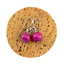 Fuchsia Lola Round Wooden Bead Earrings