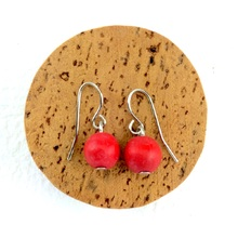 Red Lola Round Wooden Bead Earrings