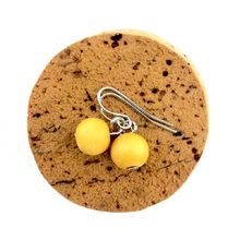 Sunshine Yellow Lola Round Wooden Bead Earrings
