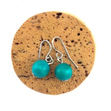 Turquoise Lola Round Wooden Bead Earrings