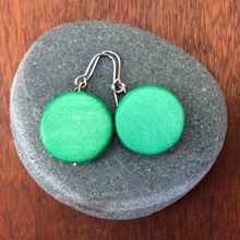 Fern Green Lucinda Round Wooden Disc Hook Earrings