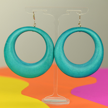 Turquoise Large Gypsy Hoop Wooden Earrings