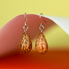 Natural Coconut Palmwood Teardrop Earrings