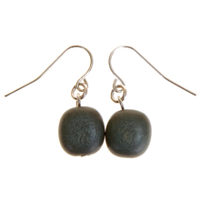 Slate Wooden Nugget Hook Earrings