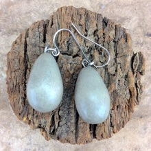 Shady Grey Wooden Teardrop Hook Earrings