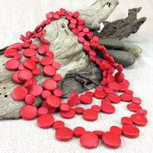 Red Smarties 3 Strand Coconut Shell Necklace