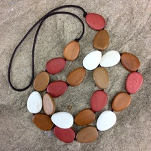 Naturals Combination Flat Drop Long Wooden Necklace