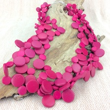 Fuchsia Smarties 3 Strand Coconut Shell Necklace