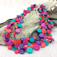 Opulence Smarties 3 Strand Coconut Shell Necklace
