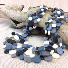 Othello Black White Grey Smarties 3 Strand Coconut Shell  Necklace