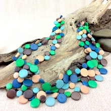Swimming Pool Smarties 3 Strand Coconut Shell Necklace
