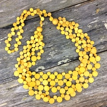 Sunshine Yellow Smarties 5 Strand Coconut Shell Long Necklace