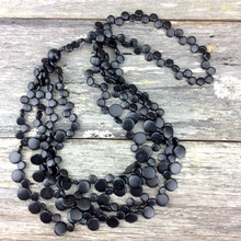 Black Smarties 5 Strand Coconut Shell Long Necklace