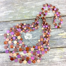 Lavender Deluxe Smarties 5 Strand Coconut Shell Long Necklace