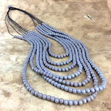 Shady Grey Classic Multi Strand Wooden Necklace