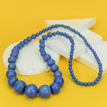 Denim Blue Lola Long Wooden Necklace