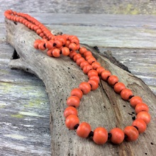Coral Orange Single Lady Long Wooden Necklace