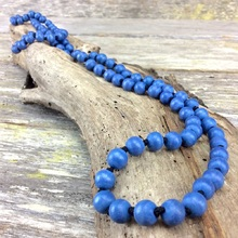 Denim Blue Single Lady  Long Wooden Necklace