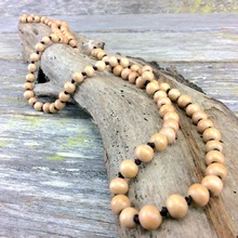 Sand  Single Lady Long Wooden Necklace