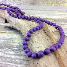 Wild Berry Single Lady  Long Wooden Necklace
