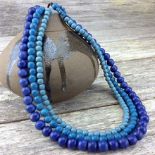 Denim Blues Lolita 3 Strand Wooden Necklace