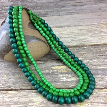 Greenery Lolita 3 Strand Wooden Necklace