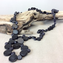 Black Graduated Wooden Smarties Long Necklace