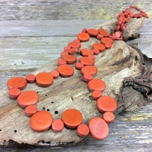 Suede Graduated Wooden Smarties Long Necklace