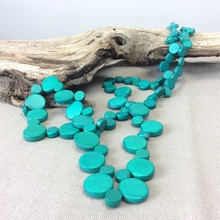 Turquoise Graduated Wooden Smarties Long Necklace