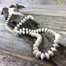 Bleach White Journey Beads Long Wooden Necklace