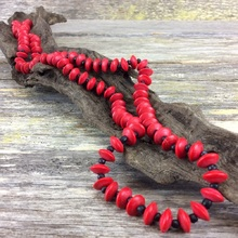 Red Journey Beads Long Wooden Necklace