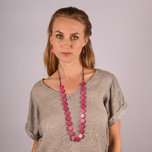 Fuchsia Lucinda Disks Long Necklace