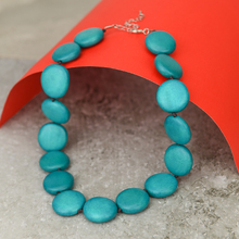 Turquoise Lucy Short Round Wooden Necklace