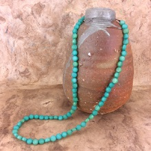 Fern Green Burri Palm Bead Long Necklace
