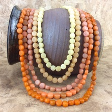 Spice Five Strand Burri Palm Bead Short Necklace